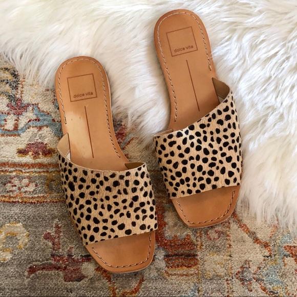 Dolce Vita Cato Leopard Fur Slide